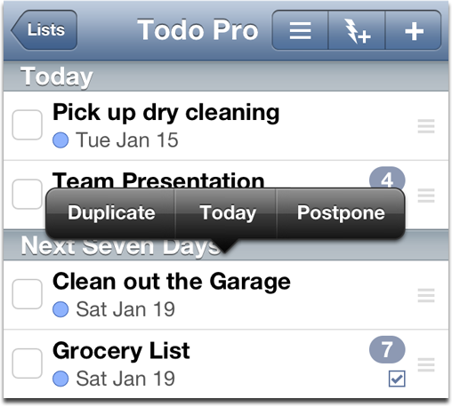 Screenshot of Tap and Hold options in Appigo Todo