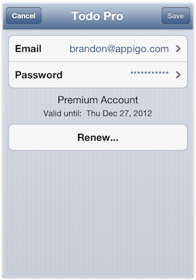 Account information in the iOS apps